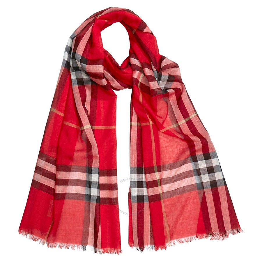 Burberry Lightweight Check Wool and Silk Scarf- Bright Military Red Item  No. 4078274 a56164a275