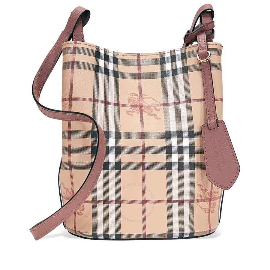 c5b829588627 Burberry Lightweight Leather and Haymarket Check Bucket Bag- Light  Elderberry