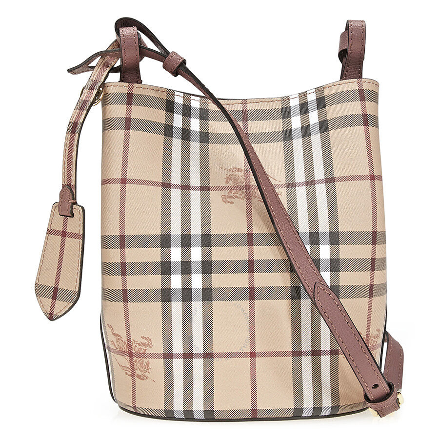 e95a223e71c Burberry Lightweight Leather and Haymarket Check Bucket Bag- Light  Elderberry
