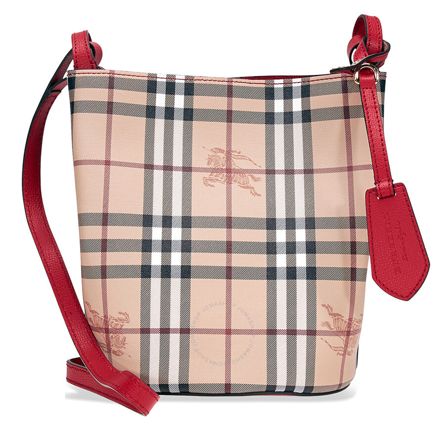 Burberry Lightweight Leather And Haymarket Check Bucket Bag Red