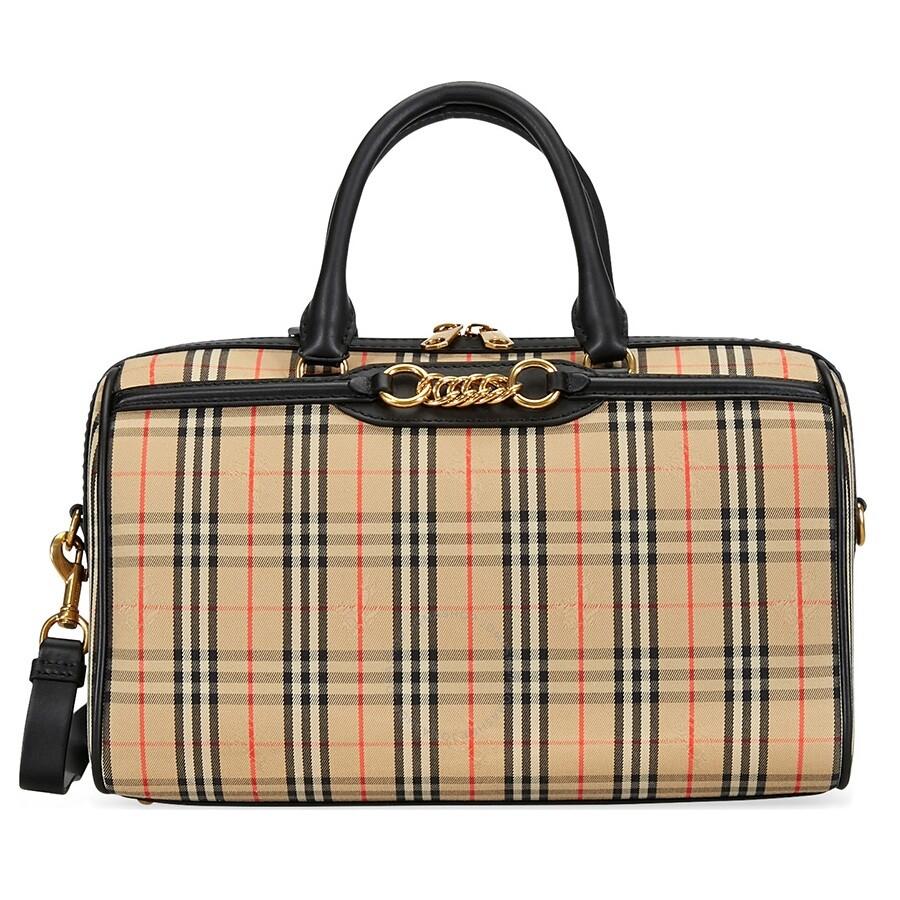 60d8a7fcfe Burberry Medium 1983 Check Link Bowling Bag- Black Item No. 8007511