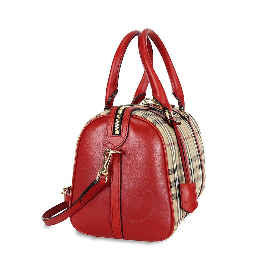 3cee687e361e Burberry Medium Alchester Horseferry Check Bowling Bag - Honey Parade Red