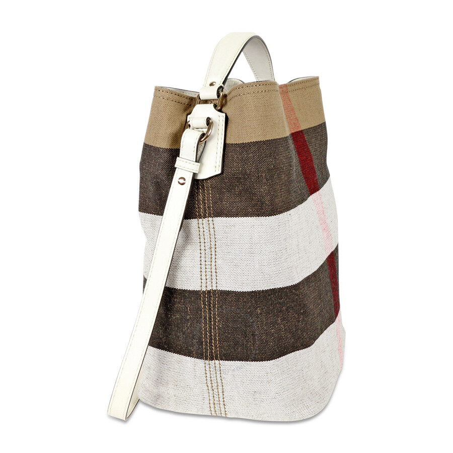 3320109afb14 Burberry Medium Ashby Canvas Check Leather Tote - White - Burberry ...