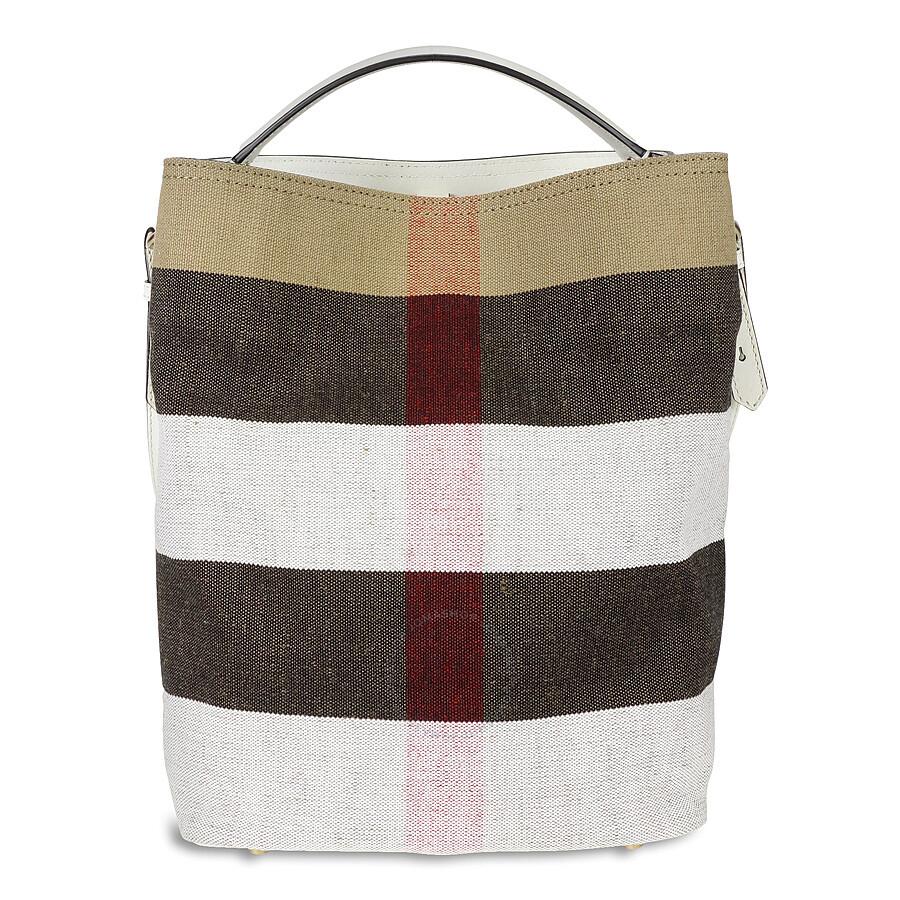 Burberry Medium Ashby Canvas Check Leather Tote - White - Burberry ... 6e1801fca85b4