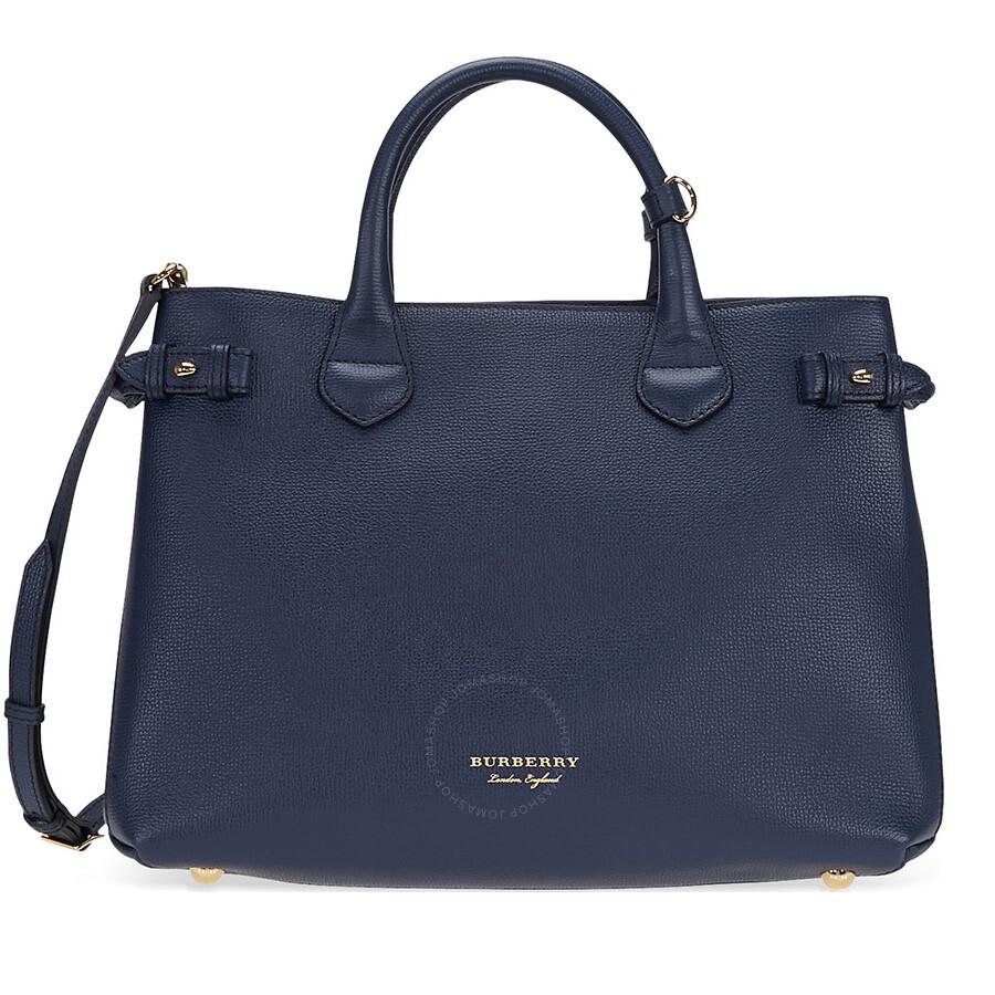 77e2971f7655 Burberry Medium Banner Calfskin Leather Tote- Ink Blue Item No. 4023696