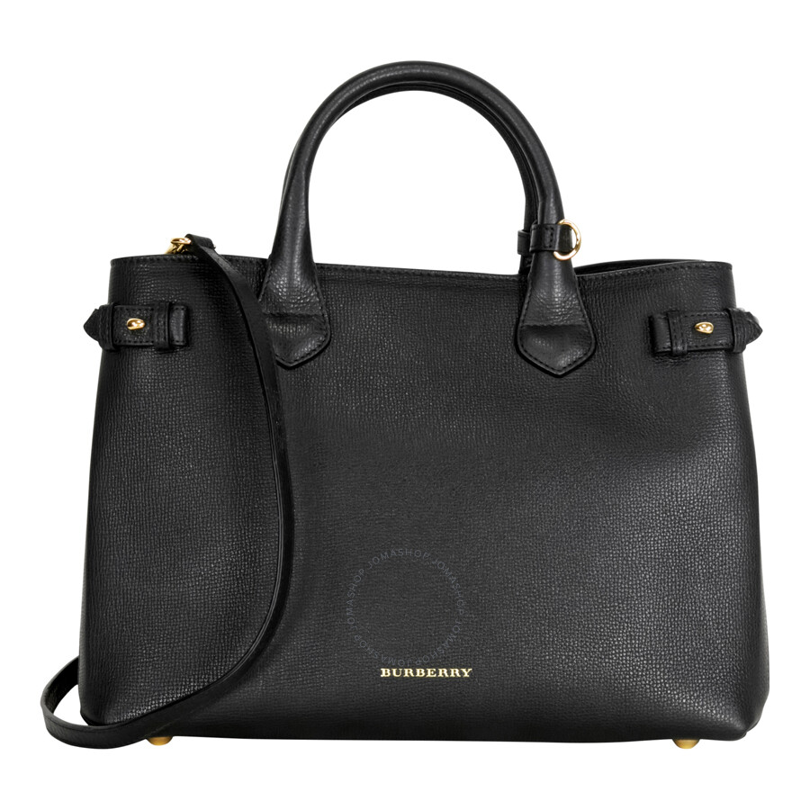 Burberry Medium Banner House Check Leather Tote - Black - Burberry ... ec53ee2d19e67