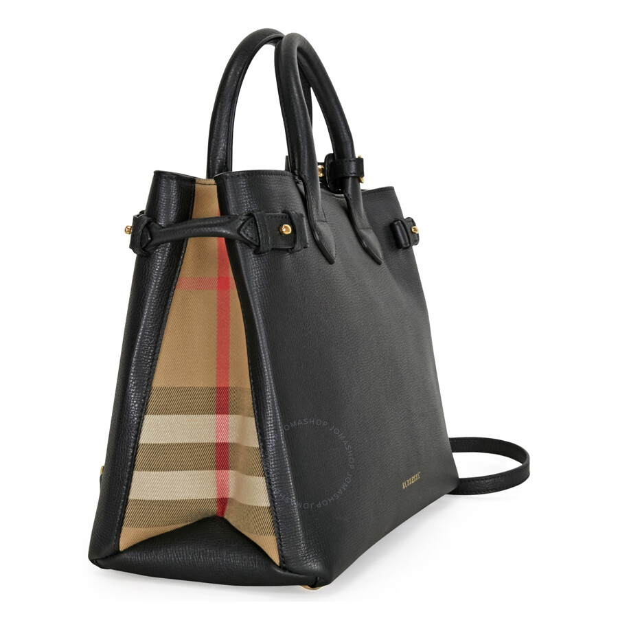 1c4eb1b5f5e Burberry Medium Banner House Check Leather Tote - Black - Burberry ...