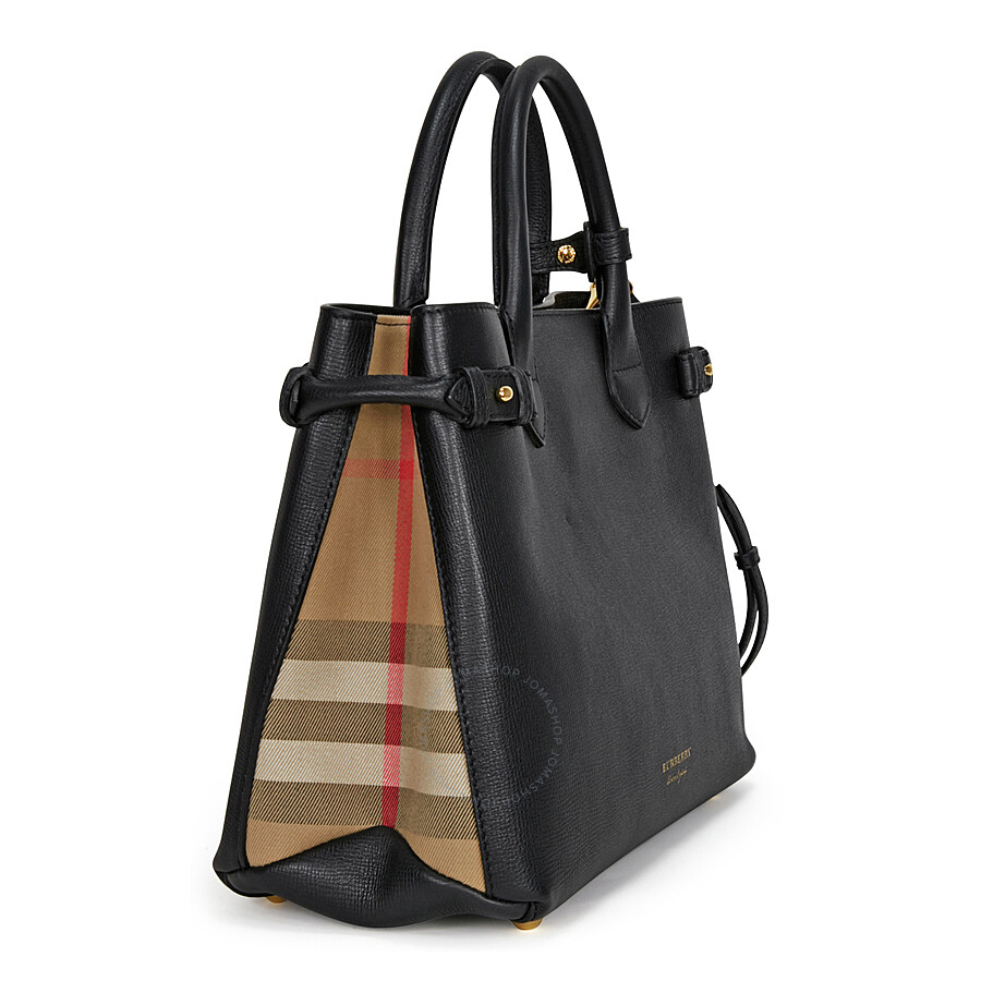 da55c7a8ca Burberry Medium Banner House Check Leather Tote - Black - Burberry ...