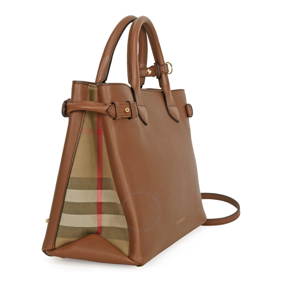 6d1e097b77 Burberry Medium Banner House Check Leather Tote - Tan - Burberry ...