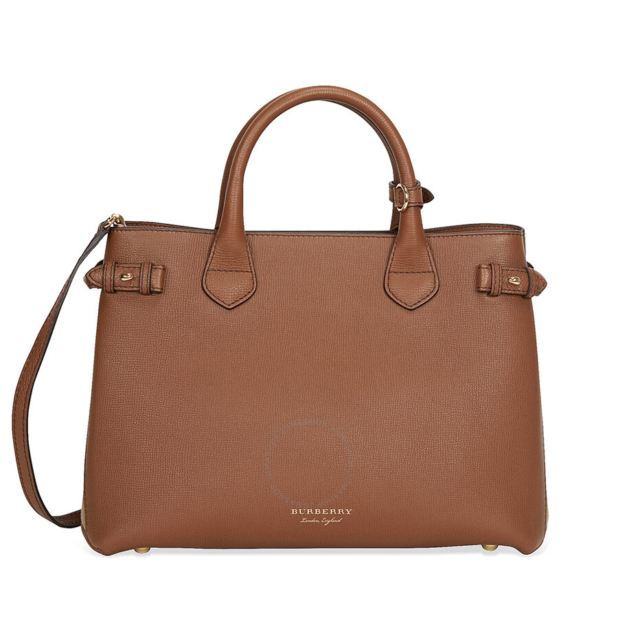 8702dcd0249f Burberry Medium Banner House Check Leather Tote - Tan - Burberry ...