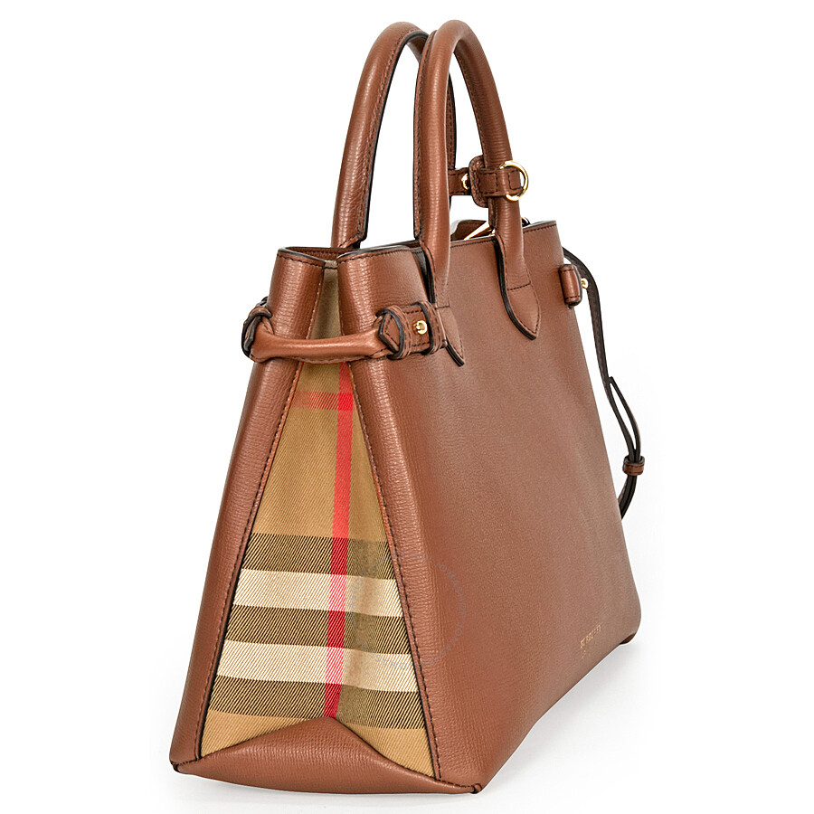 4843e9c0858a Burberry Medium Banner House Check Leather Tote - Tan - Burberry ...