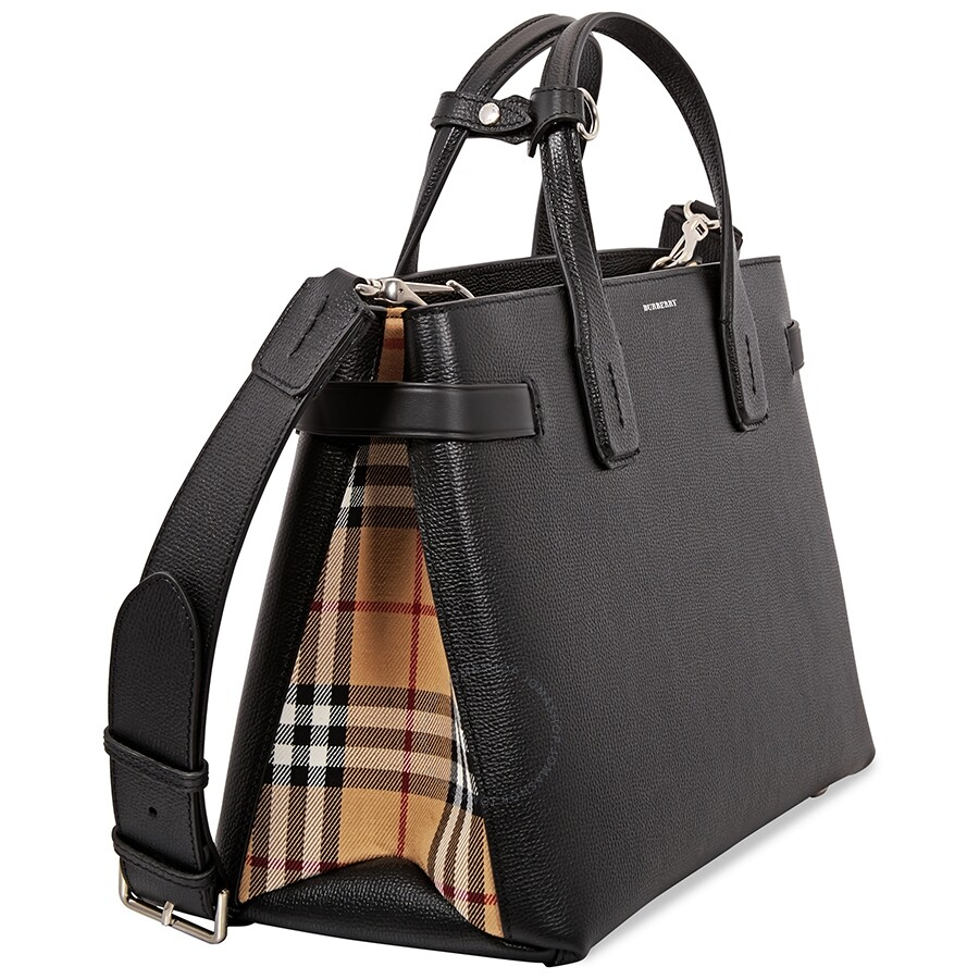 8f15379c2 Burberry Medium Banner in Leather and Vintage Check- Black ...
