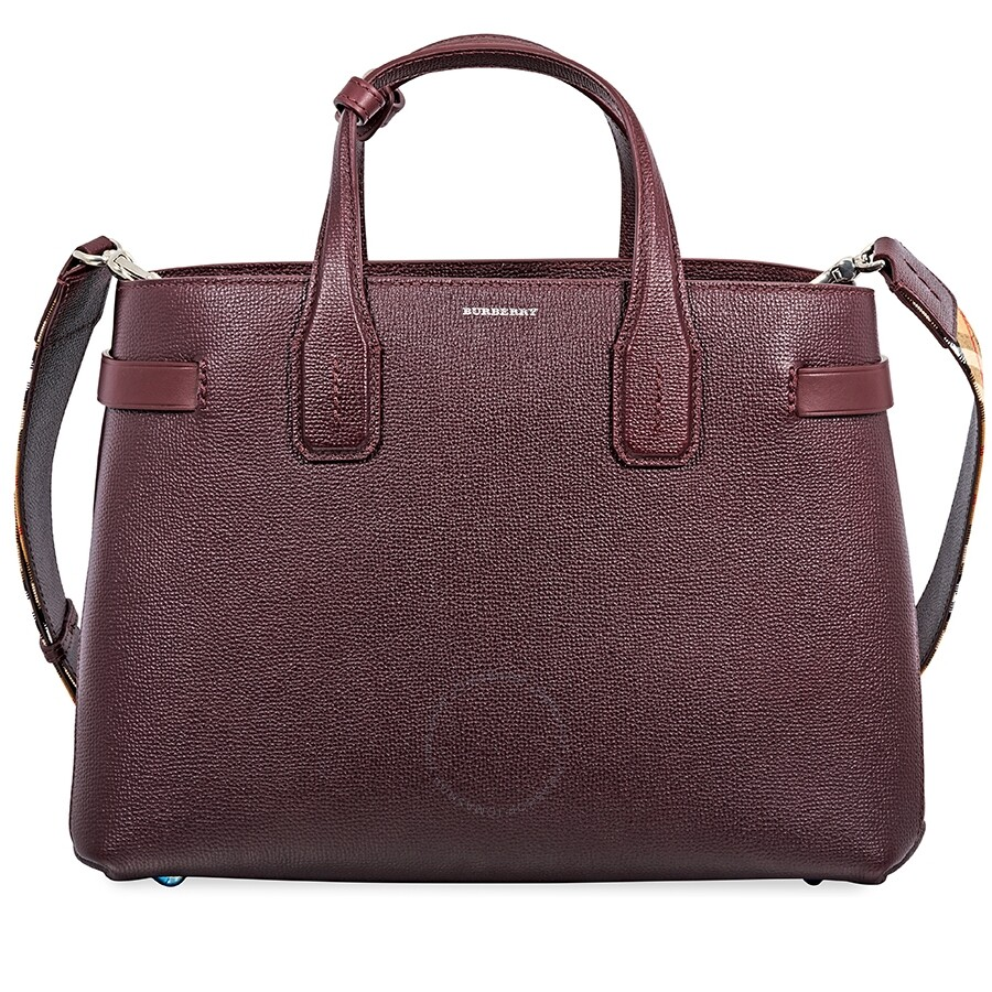 8aa76f4ad Burberry Medium Banner in Leather and Vintage Check- Mahogany Red Item No.  4077519