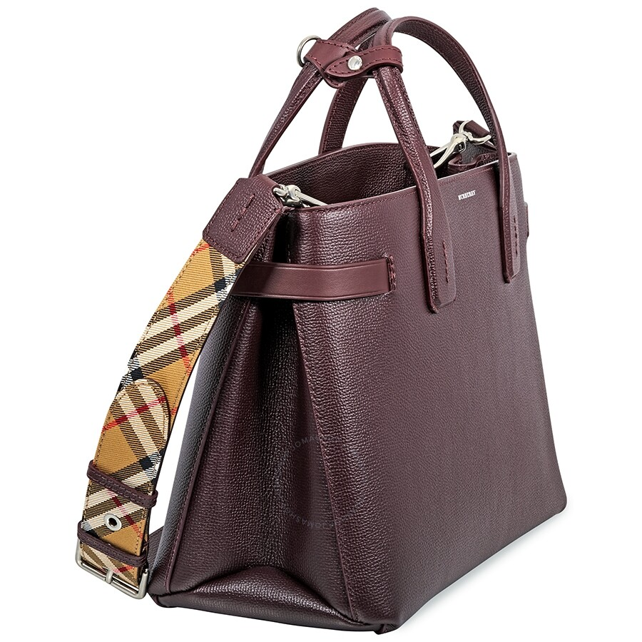 b99072641 Burberry Medium Banner in Leather and Vintage Check- Mahogany Red ...