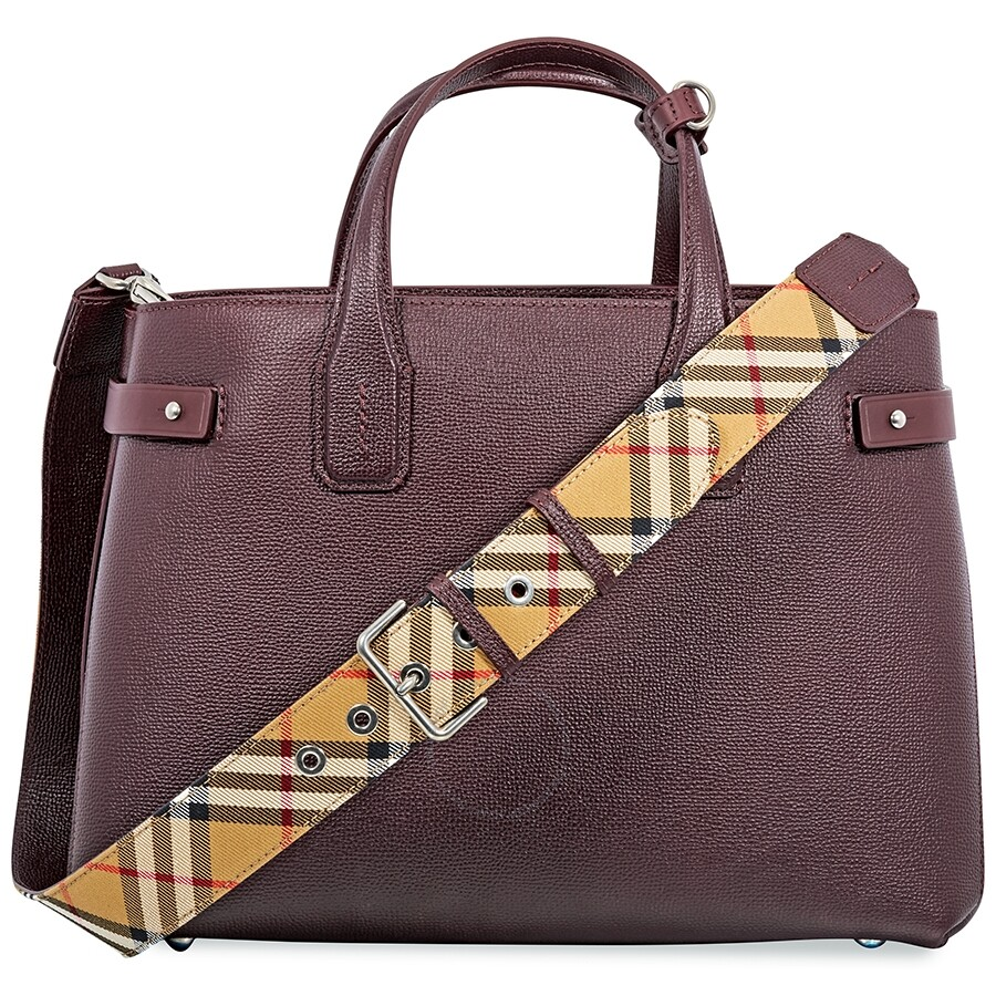 171e374ed6cf Burberry Medium Banner in Leather and Vintage Check- Mahogany Red ...