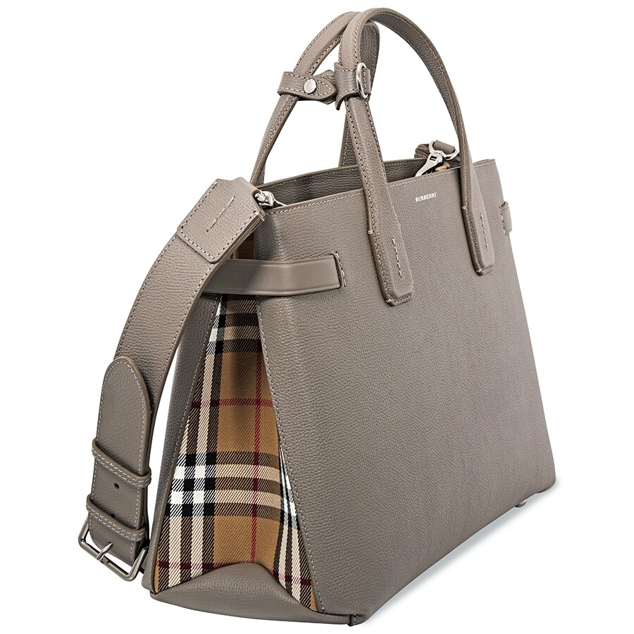 c4a92e66458 Burberry Medium Banner in Leather and Vintage Check- Taupe Brown ...