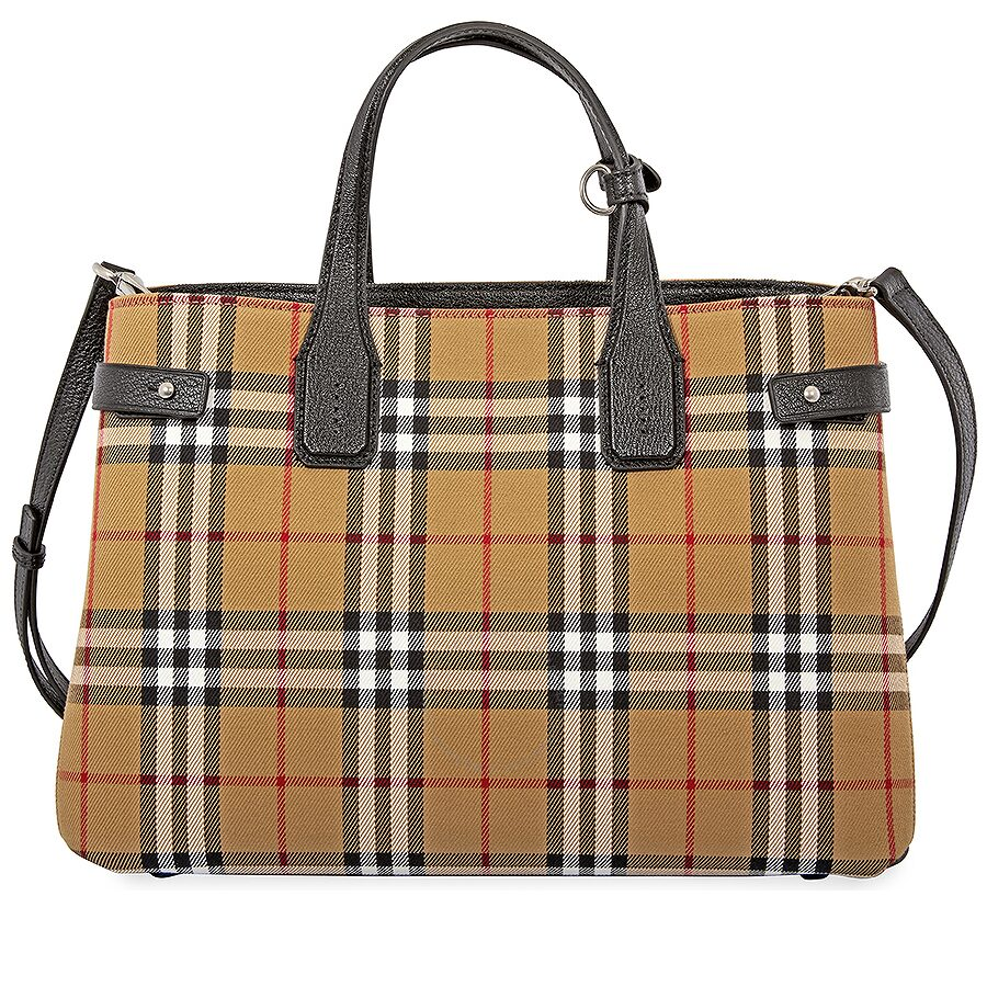 Burberry Medium Banner in Vintage Check and Leather- Black Item No.  4076953. Write a review dbc6ff957a