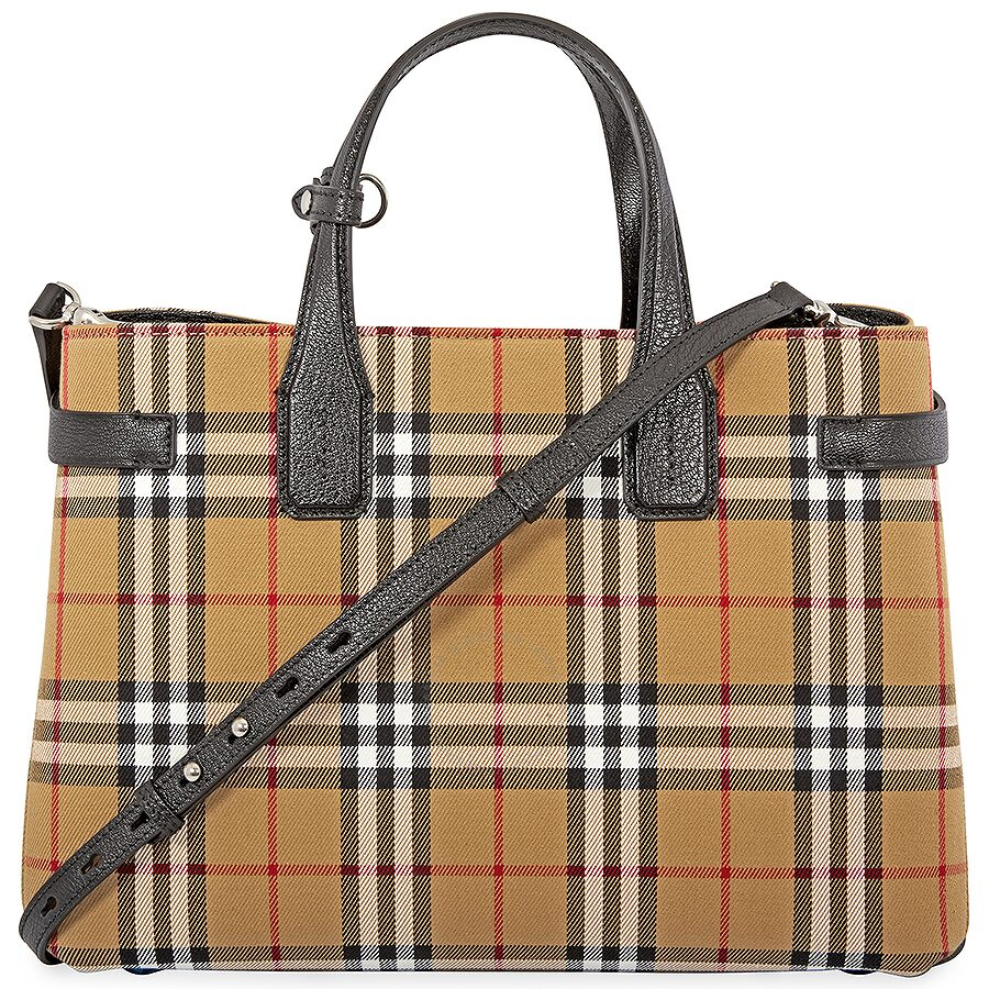 Burberry Medium Banner in Vintage Check and Leather- Black ... 9c4697559c