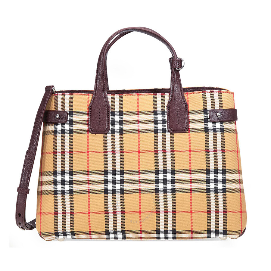 10d1635f2a85 Burberry Medium Banner Vintage Check and Leather Tote- Deep Claret Item No.  4076952