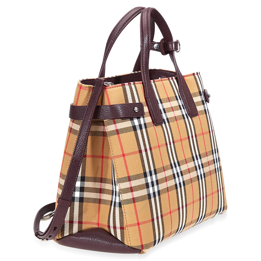 198d68ba2e77 Burberry Medium Banner Vintage Check and Leather Tote- Deep Claret ...