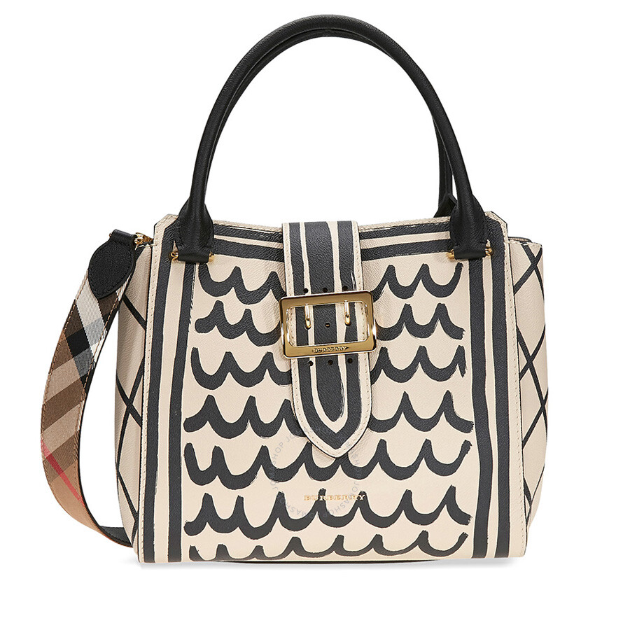211ca81472 Burberry Medium Buckle Tote in Trompe L'oeil Print Leather - Limestone Item  No. 4049853
