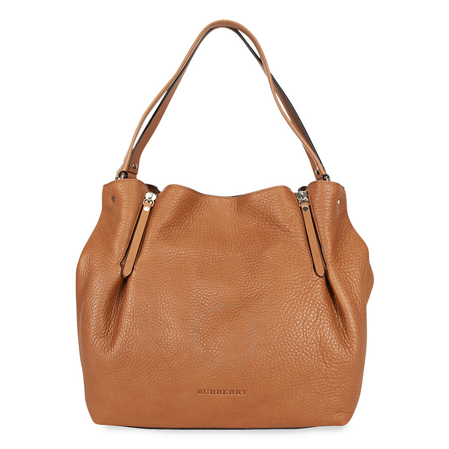 5862889550c7 Burberry Medium Check Detail Leather Tote - Saddle Brown - Burberry ...