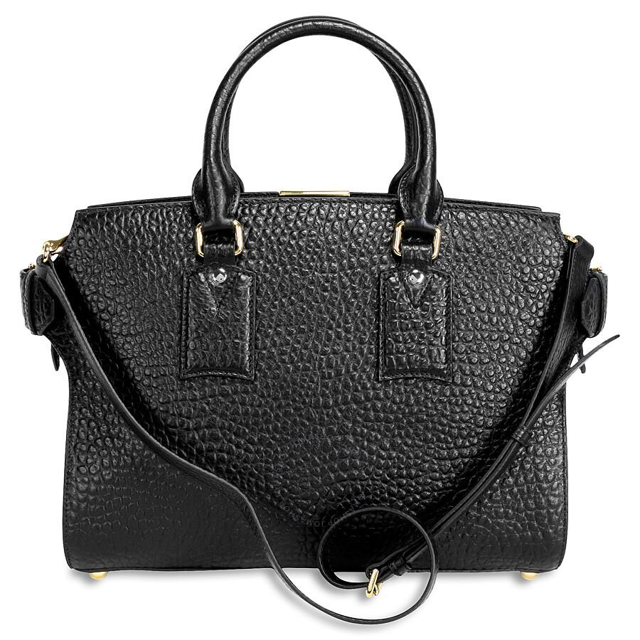 Burberry Medium Clifton Signature Grain Leather Satchel - Black Item No.  39712361 21986ccd89982