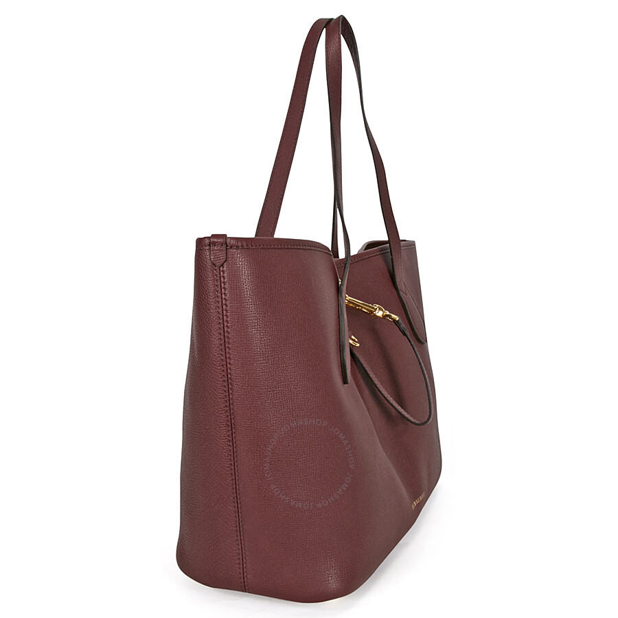 Burberry Medium Grainy Leather Tote Bag Mahogany Red