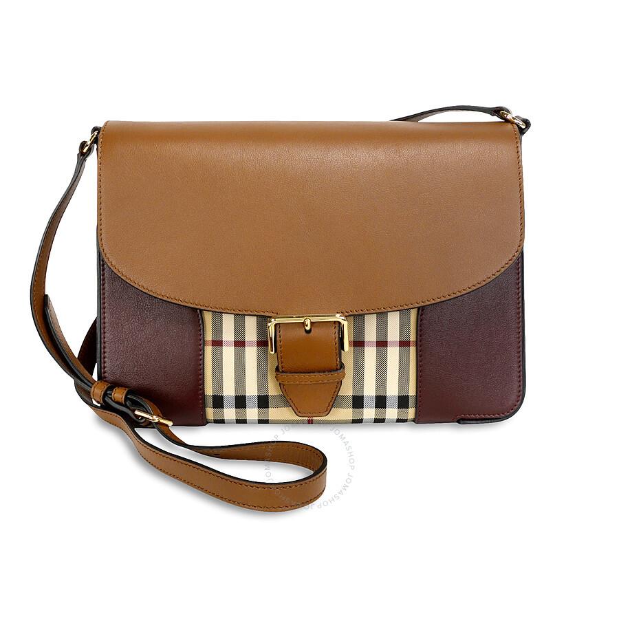 fcbff58ff9 Burberry Medium Horseferry Check and Leather Crossbody Bag - Tan and Deep  Claret Item No. 3990663