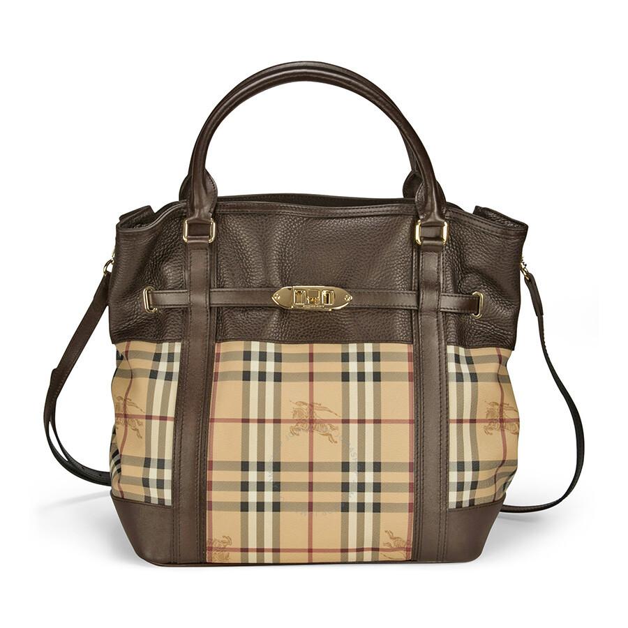 Burberry Medium Leather Haymarket Check Tote - Chocolate Item No. 3882405 f695983120381