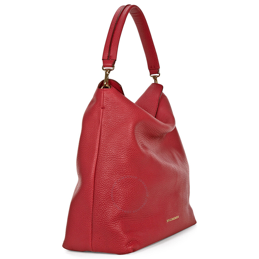 8f1fb2bfe49b Burberry Medium Leather Hobo Bag - Pink Azalea - Burberry Handbags ...