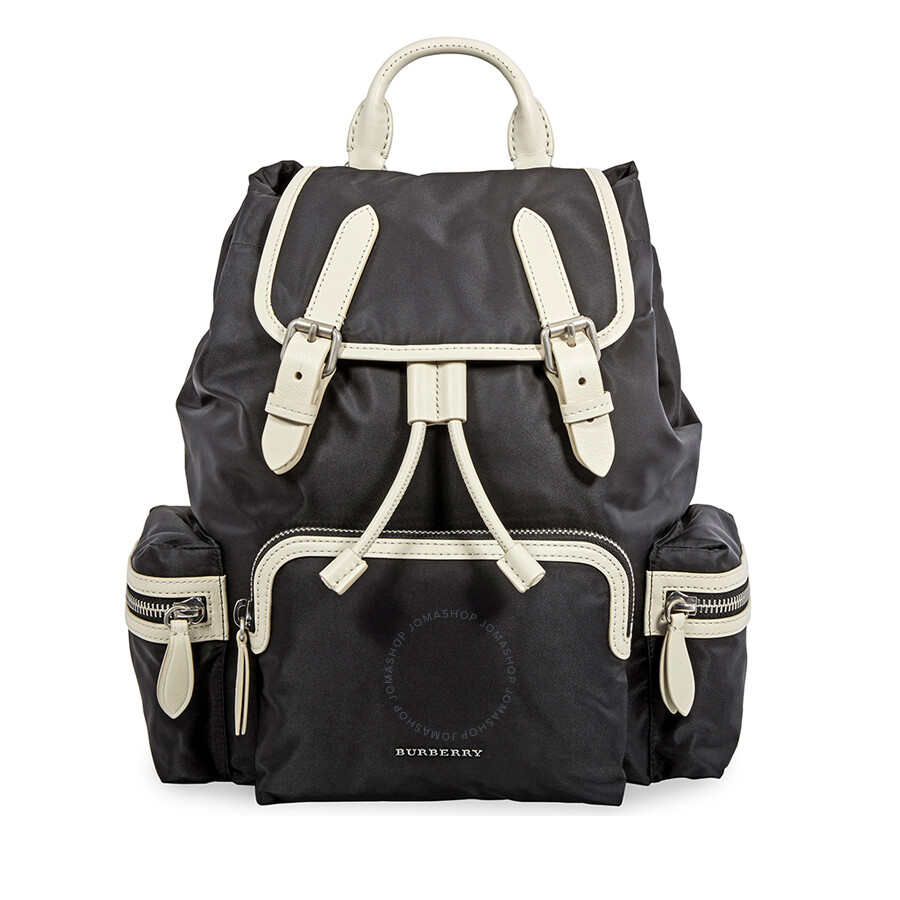 Burberry Medium Nylon and Leather Rucksack- Black Item No. 4080122 ba257c99df331