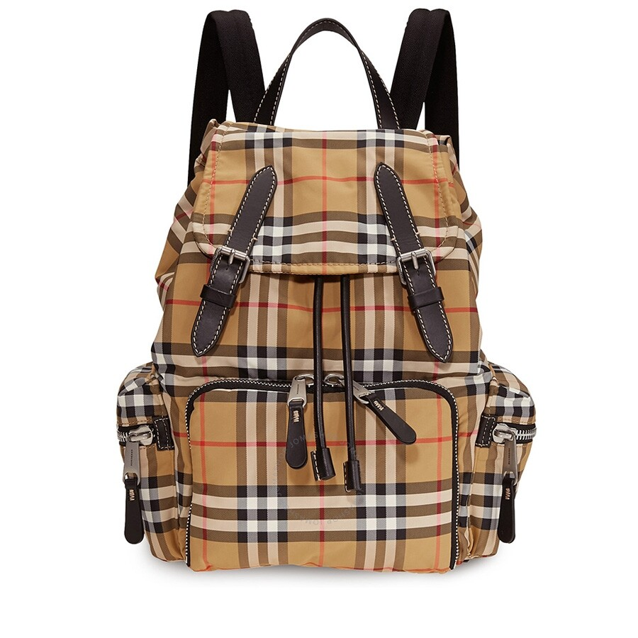 cbad4f0965b8 Burberry Medium Rucksack in Vintage Check Nylon- Antique Yellow Item No.  8006724