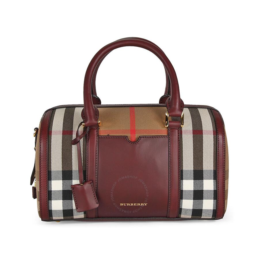 174f37e3d60 Burberry Medium Sartorial House Check Bowling Bag - Deep Claret Item No.  39396311
