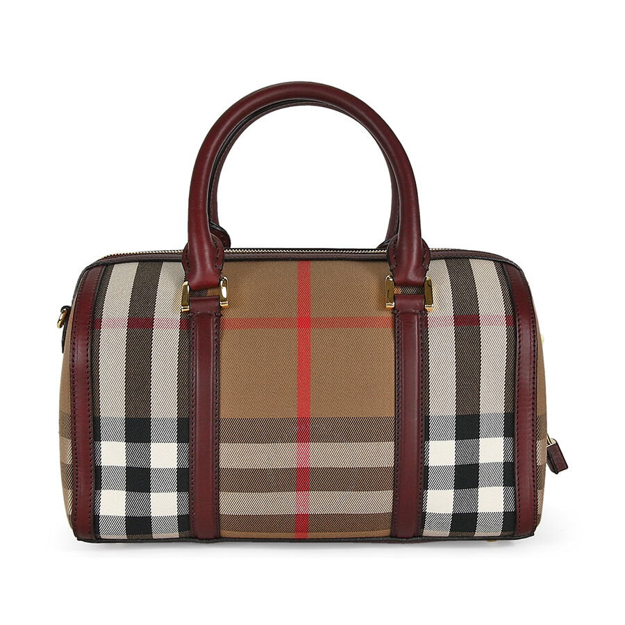 5777629334ac Burberry Medium Sartorial House Check Bowling Bag - Deep Claret Item No.  39396311