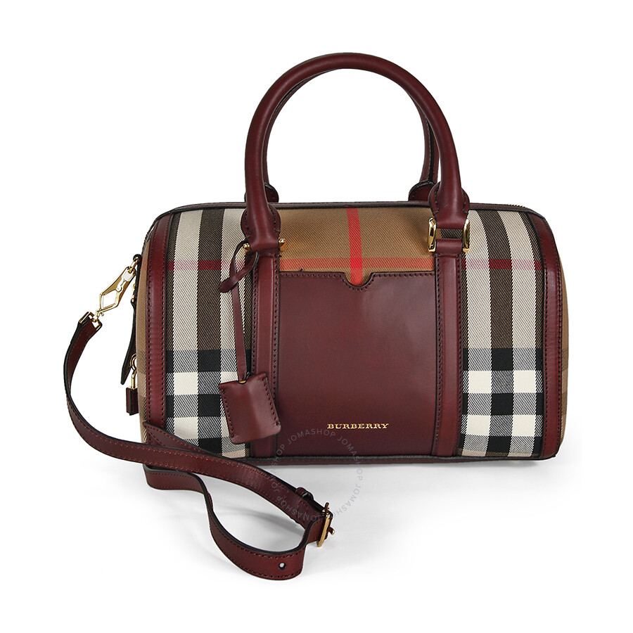 f82dfcb249e0 Burberry Medium Sartorial House Check Bowling Bag - Deep Claret Item No.  39396311