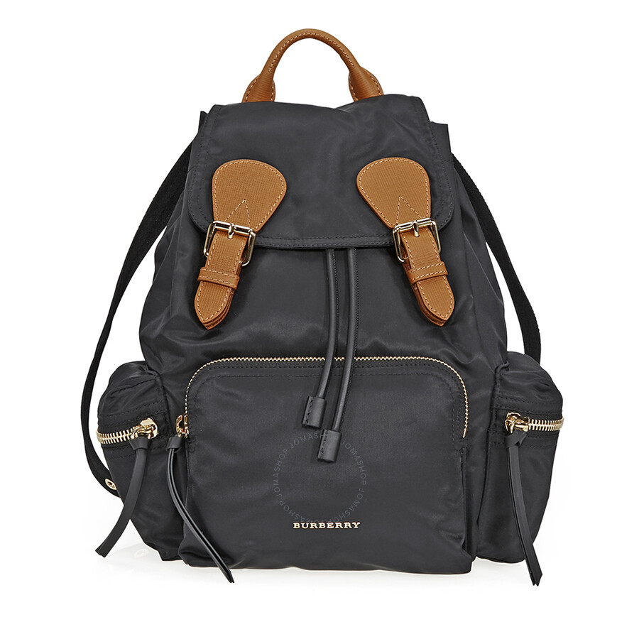772a456e40733 Burberry Medium Technical Nylon and Leather Rucksack - Black Item No.  4016622