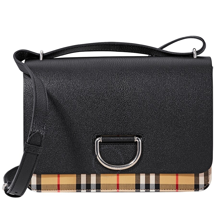 72a94c8e94c Burberry Medium Vintage Check and Leather D-ring Bag- Black Item No. 4076659