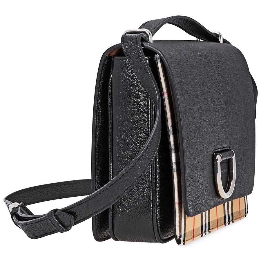 Burberry Medium Vintage Check and Leather D-ring Bag- Black ... 63eb15ac898c6