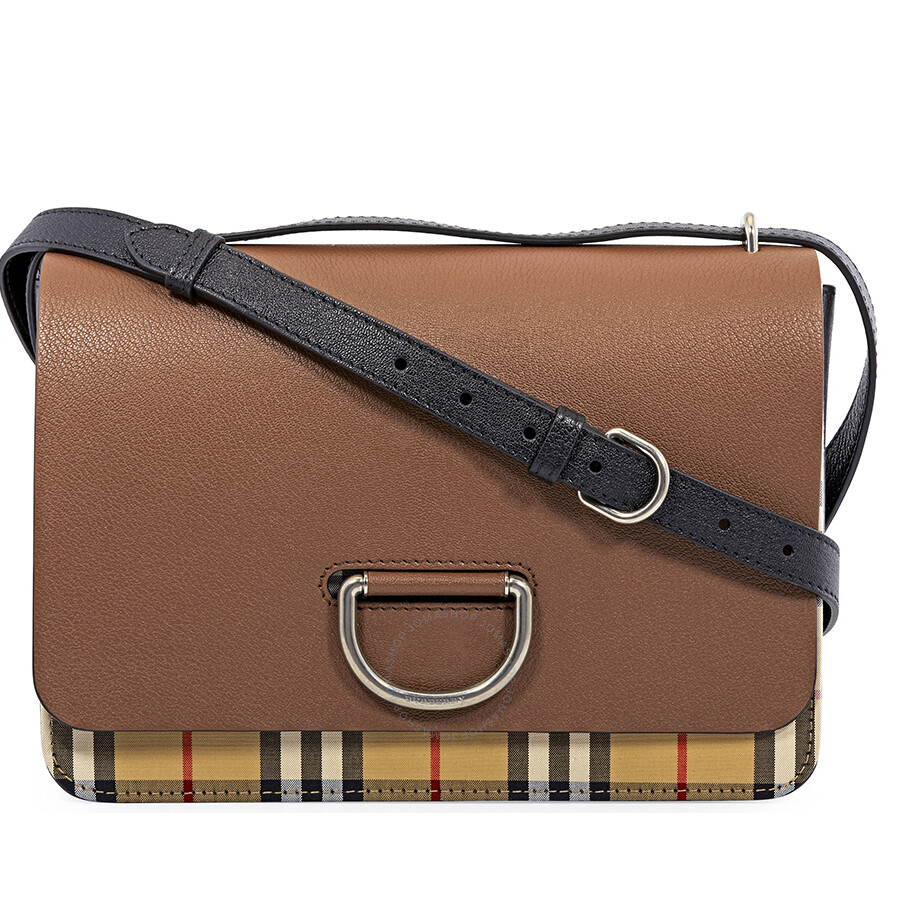 Burberry Medium Vintage Check and Leather D-ring Crossbody Bag- Tan Black  Item No. 4075926 173826c76aec3