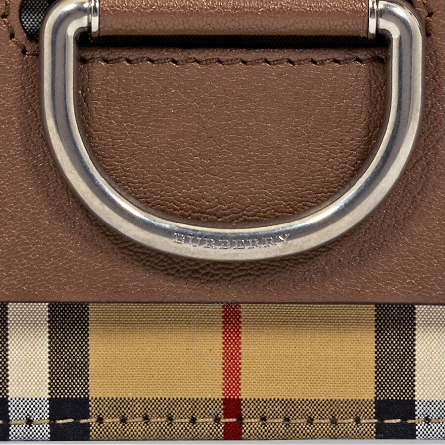 Burberry Medium Vintage Check and Leather D-ring Crossbody Bag- Tan Black fd6154ae602ba