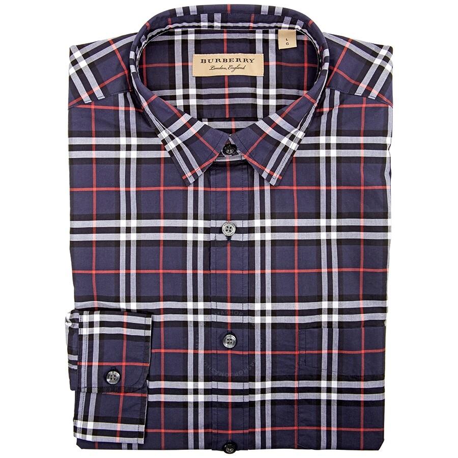 Men's Long Sleeve Woven Check Shirt In Navy /Check  Medium by Burberry