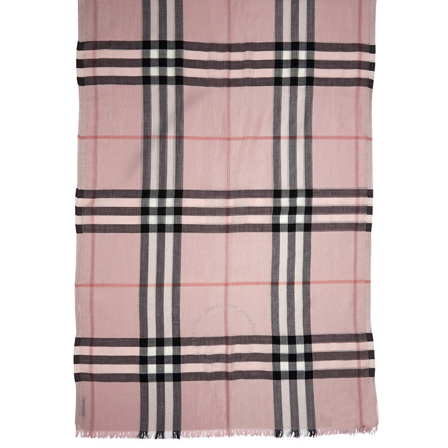 179378f3e0257 ... Burberry Metallic Check Silk and Wool Scarf - Ash Rose/Silver ...
