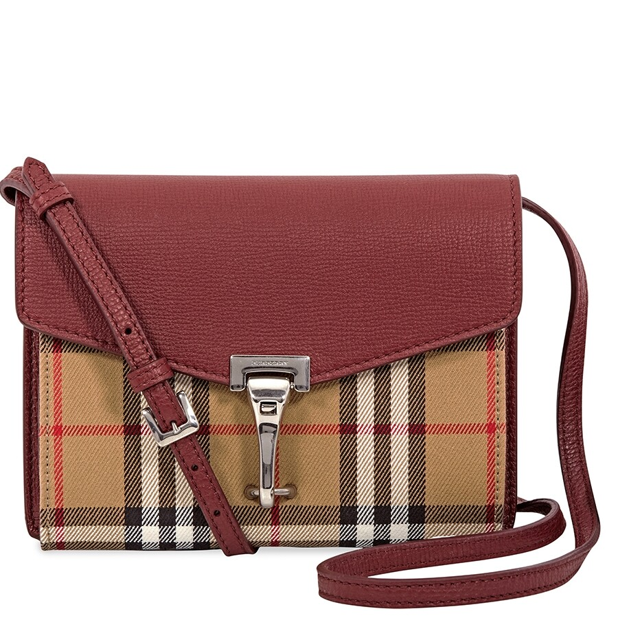 b711b7882a0d Burberry Mini Leather and Vintage Check Crossbody Bag- Crimson Item No.  4079967