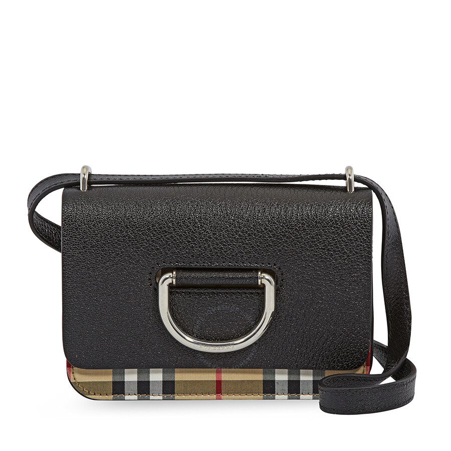 Burberry Mini Vintage Check and Leather D-ring Crossbody Bag- Black Item  No. 40767431 dad34ccbb4af6