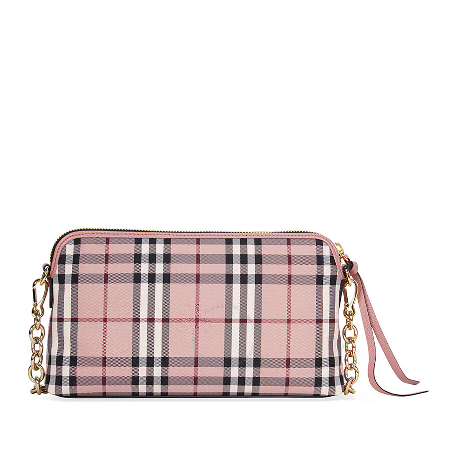 73a4f154dceb Burberry Overdyed Horseferry Check Leather Clutch - Ash Rose Dusty Pink  Item No. 4033933