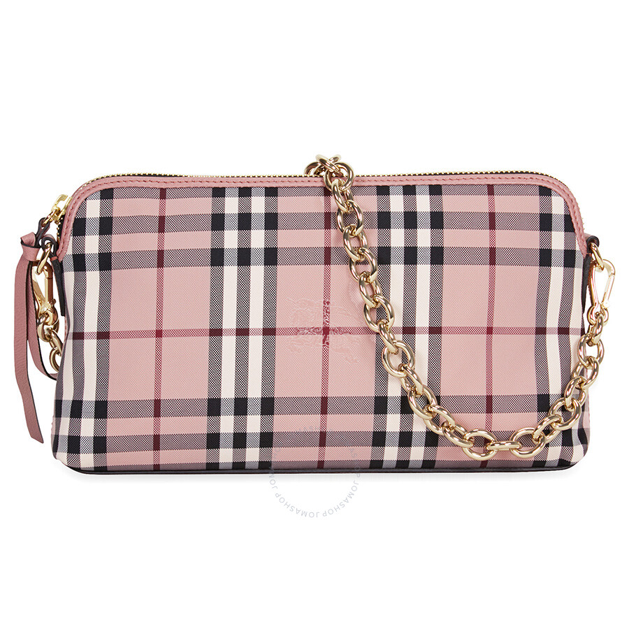 1bd40c5c3790 Burberry Overdyed Horseferry Check Leather Clutch - Ash Rose Dusty Pink