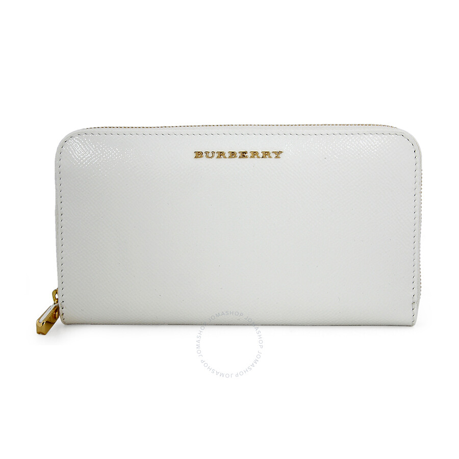 ad6cb724e6e3 Burberry Patent London Leather Zip Around Wallet - White Item No. 3930397