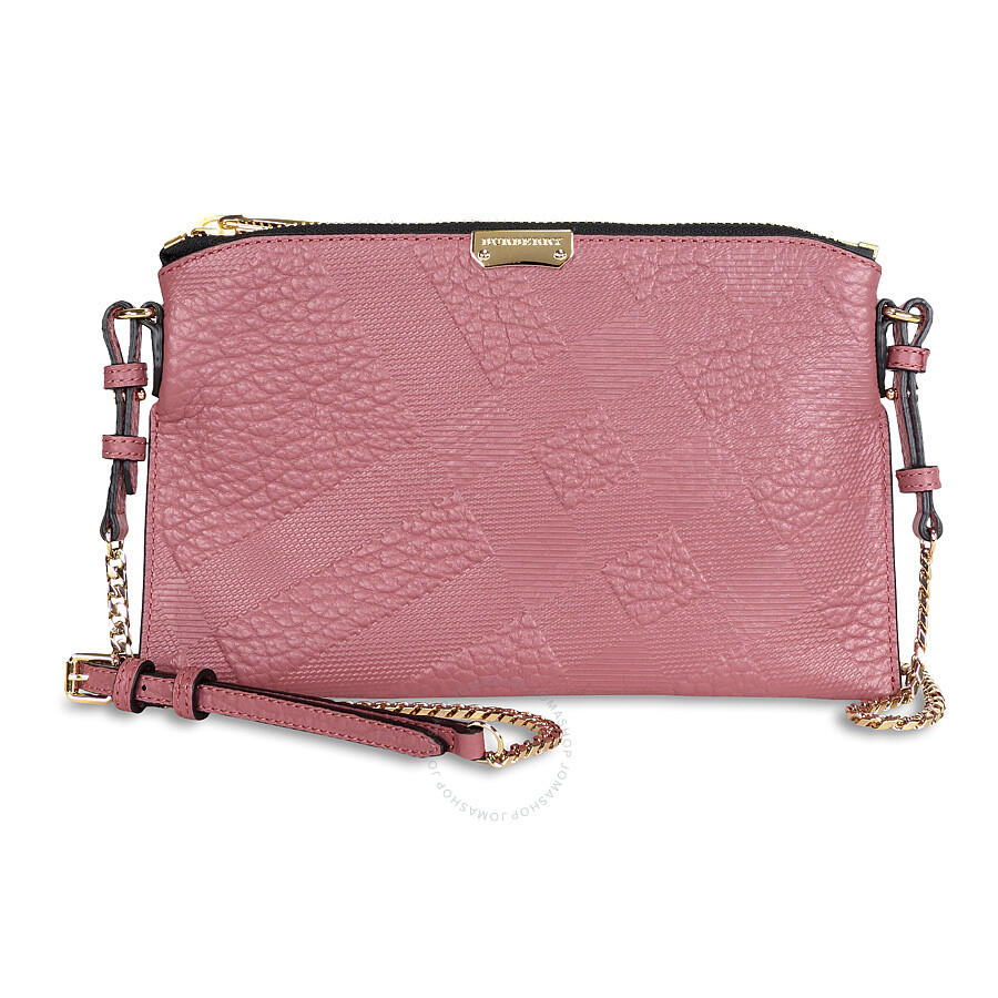 Burberry Peyton Check Embossed Leather Clutch Bag - Antique Rose ... d16e38fff815e