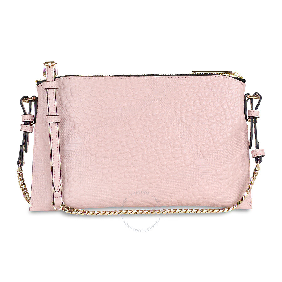 Burberry Peyton Check Embossed Leather Clutch Bag - Pale Orchid ... c5a64a8ed6328